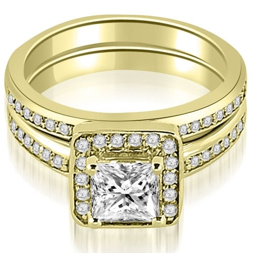 1.25 cttw. 14K Yellow Gold Halo Princess and Round Cut Diamond Matching Set