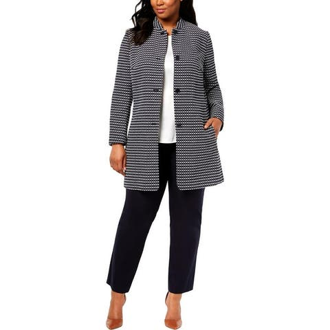 Anne Klein Womens Plus Nehru Midi Coat Printed Dressy
