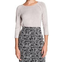 Philosophy Beige Womens Size Large L Pointelle Crewneck Sweater
