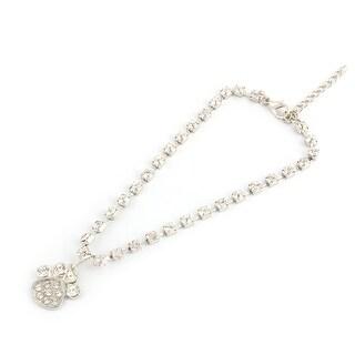 Metal Bling Rhinestone Paw Pendent Welt Pet Necklace Bracelet Sliver Tone