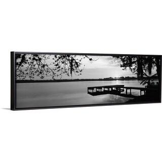 Floating Frame Premium Canvas with Black Frame entitled Florida, Orlando, Koa Campground, Lake Whippoorwill, Sunrise