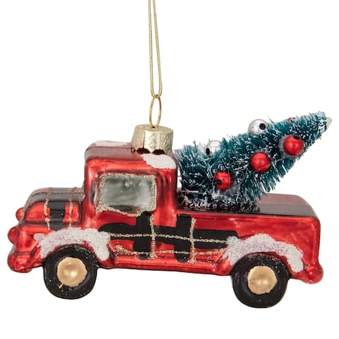 "4"" Retro Red Country Truck with Tree Hanging Christmas Ornament"
