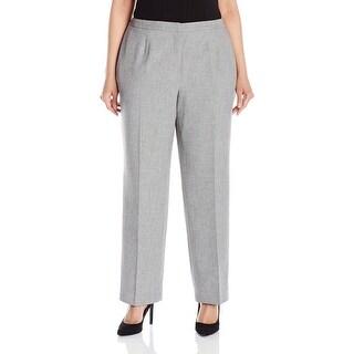 Kasper Gray Womens Size 24W Plus Mid-Rise Dress Pants Stretch