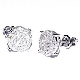 10K White Gold Diamond Earrings 8mm Wide Round Cluster 1/4cttw Screw Back By MidwestJewellery