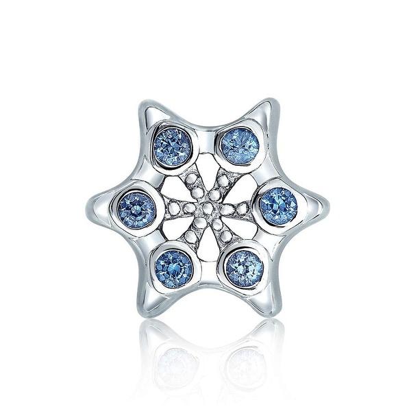 28b82330b Winter Holiday Christmas Snowflake Shape Blue Cubic Zirconia Bead CZ Charm  Sterling Silver For Women European