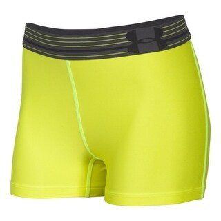 Women's Under Armour 1270720 HeatGear Shorty 3 Neon Yellow Compression Shorts