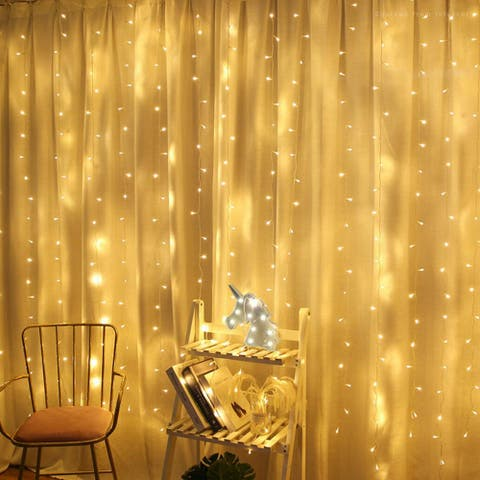 320 LEDs Christmas Window Curtain String Lights, 8 Modes