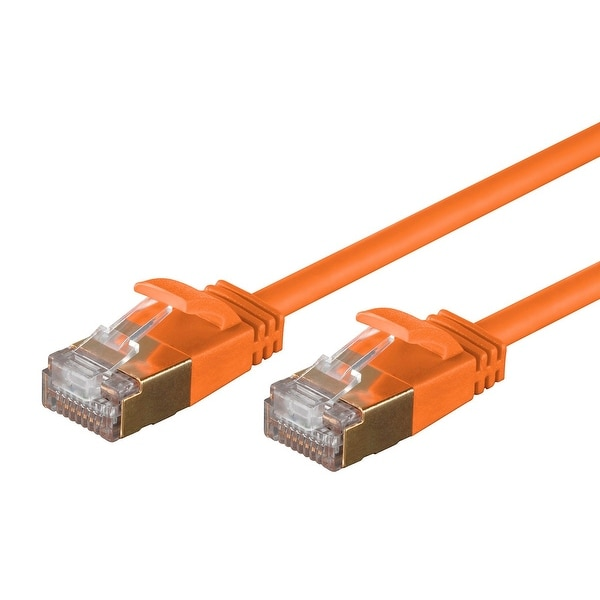 SlimRun Cat6A Ethernet Patch Cable RJ45 Stranded STP Copper Wire 36AWG 10ft Oran