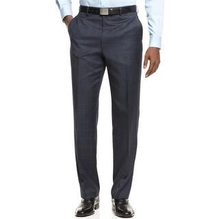 Shaquille O'Neal Herringbone Windowpane Dress Pants Navy Blue 32 x 32