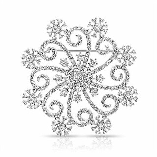 Bling Jewelry Large Swirl CZ Snowflake Winter Brooch Pin Rhodium Plated