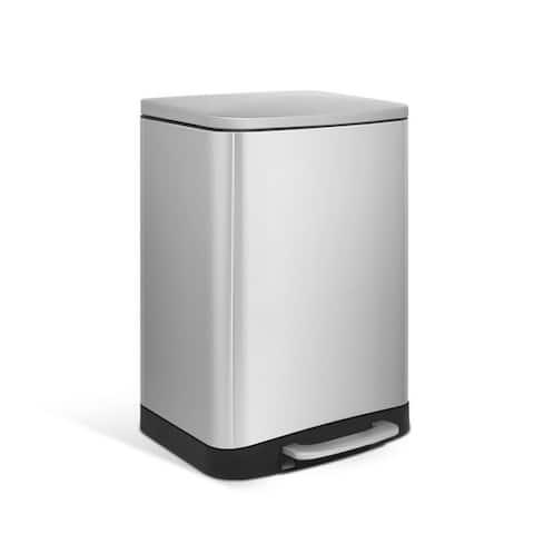 INNOVAZE 1.6 Gal./ 6-Liter fingerprint free brushed stainless steel rectangular step-on trash can