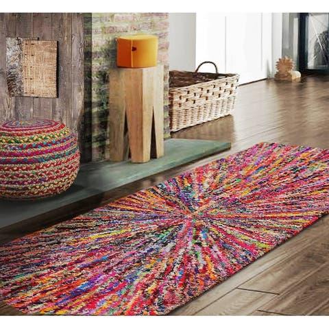 "Hand Made Starburst Funk Multi Color, Oriental Area Rug Wool Modern & Contemporary Oriental Area Rug (Runner) - 2'4"" x 4'10"