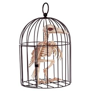 """Seasons Z53042 Halloween Skeleton Crow in Cage, Bone, 9-3/4"""" H - Bone"""