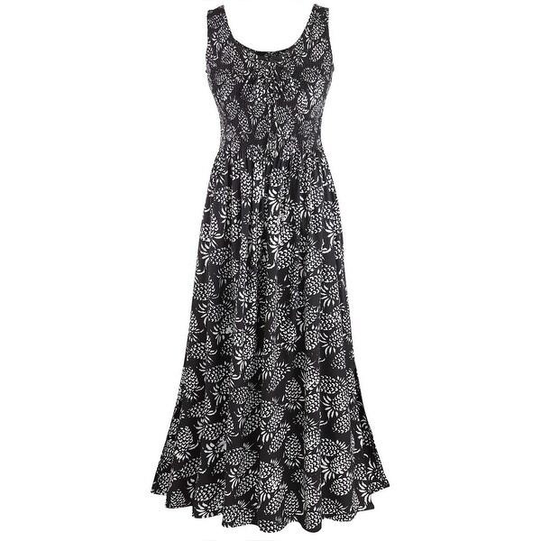 Women's Pineapple Shirred Maxi Dress - Scoop Neckline Sleeveless