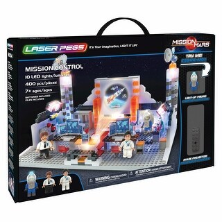 Laser Pegs Mission Control Light-Up Building Block Set - Command Station Toy with Projector - 400 Pieces