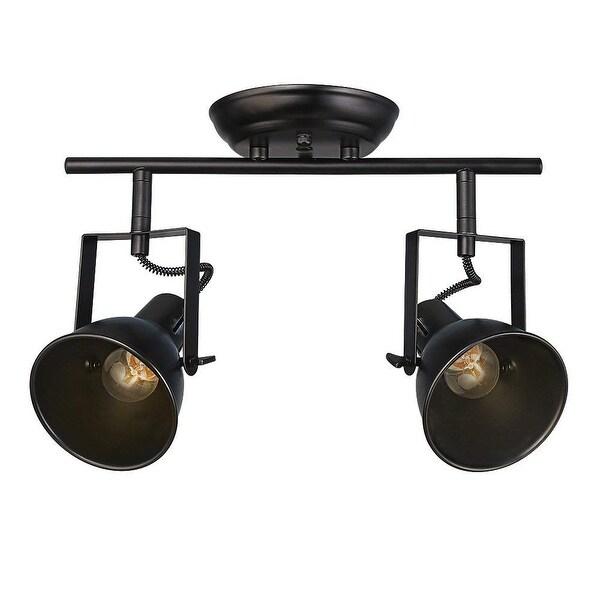 2 light industrial black track ceiling light. Opens flyout.