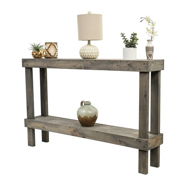 Grey Rustic Luxe Large Wooden Sofa Table by Del Hutson Designs