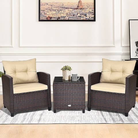 Outdoor 3 Pieces Cushioned Conversation Set Patio Rattan Furniture