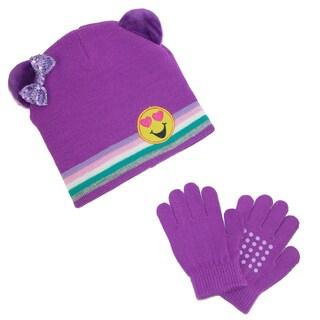 CTM® Girl's Emoji Hat with Grip Gloves Set
