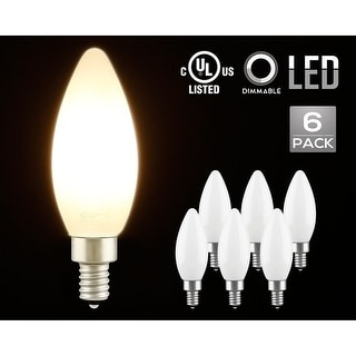 6 Pack 4.5W Dimmable LED C11 Milky Frosted Filament Candle Bulb, Soft White E12 Base