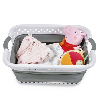 Foldable Plastic Laundry Basket Collapsible Washing Dirty Clothes Storage Organizer Home Household - N/A