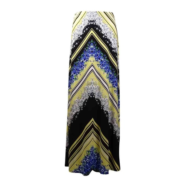 Shop Eci New York Women S Floral Chevron Maxi Jersey Skirt Yellow