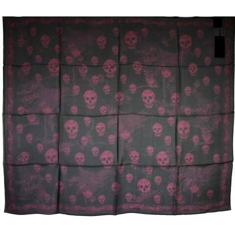 Alexander McQueen Women's Black / Light Purple Multiskull Print Silk Scarf 528571 1071 - One Size
