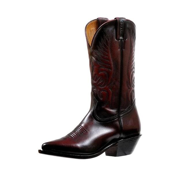 Boulet Western Boots Womens Snip Cowboy Heel Palemo Black Cherry