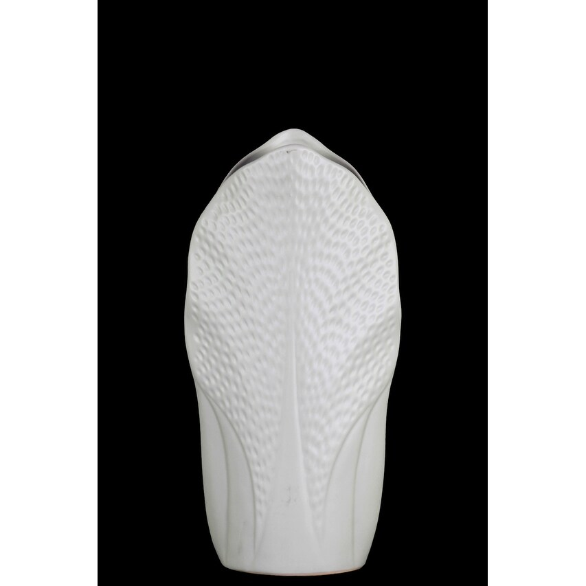 Ceramic Pyramidal Vase With Engraved Circle Design, Medium, White