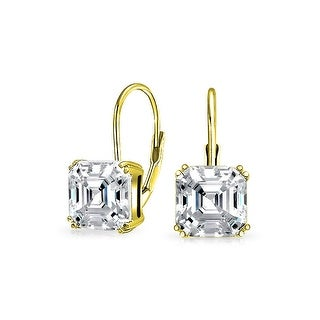 Bling Jewelry 925 Silver Asscher Cut CZ Leverback Drop Earrings Gold Plated