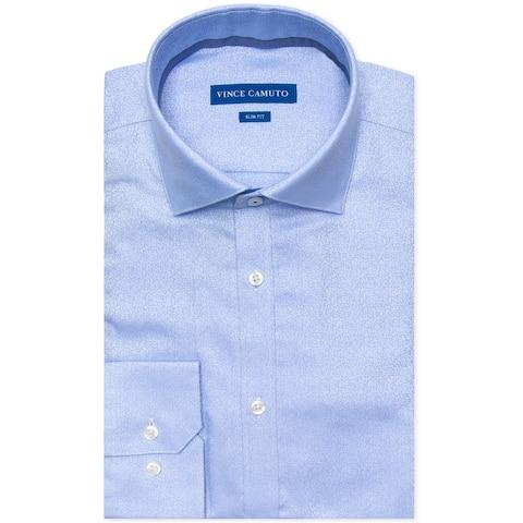 "Vince Camuto Mens Jacquard Button Up Dress Shirt, Blue, 16"" Neck 34""-35"" Sleeve"