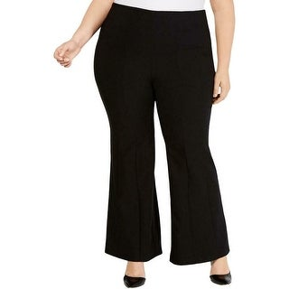 INC Womens Dress Pants Black Size 16W Plus Flare Leg Mid-Rise Stretch