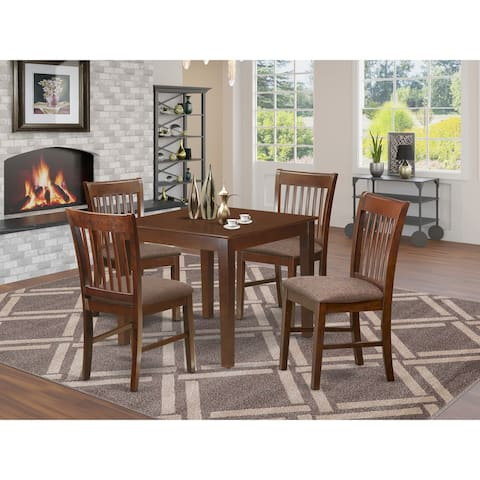 Rubber Wood 5-piece Dining Set with Square Table and 4 Kitchen Chairs in Mahogany Finish