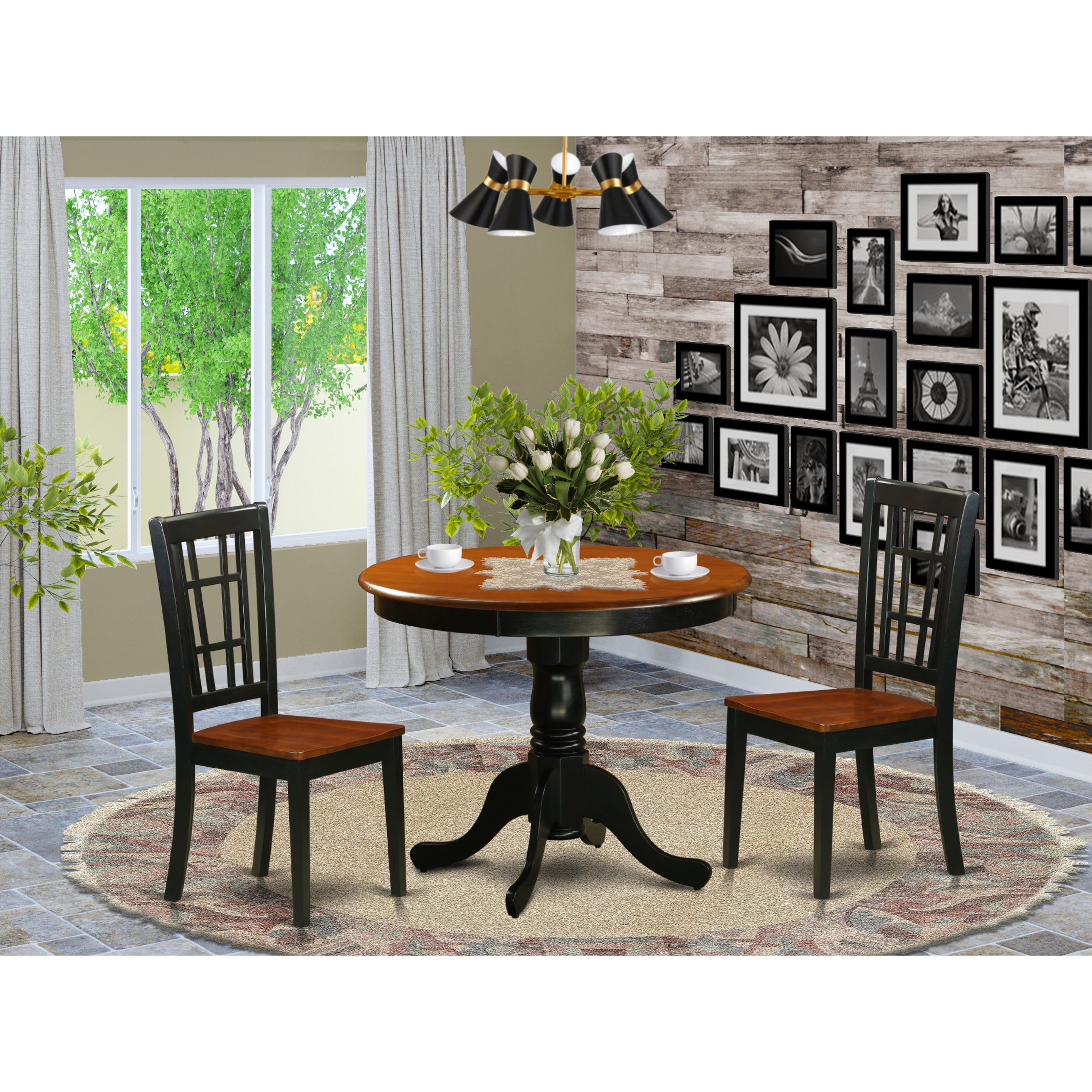 Antique 3 Piece Dining Table With 2 Chairs Finished In Black And Cherry Overstock 12026590