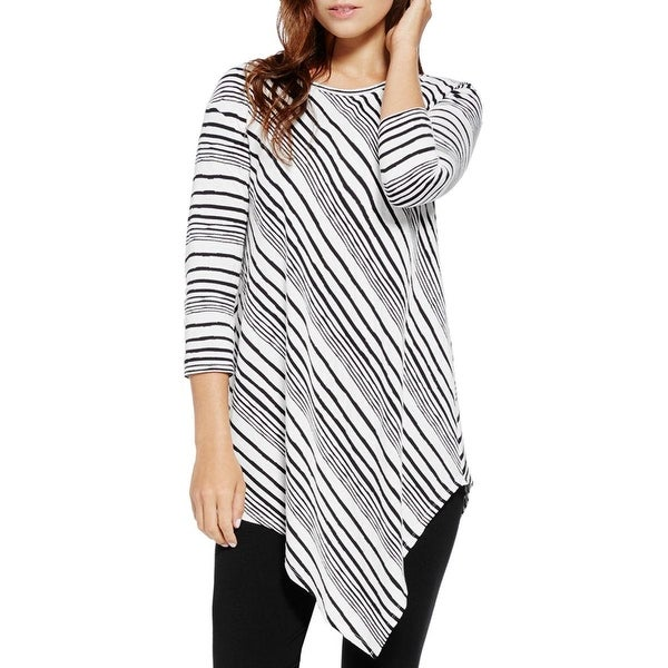 Two by Vince Camuto Womens Pullover Top Striped Asymmetrical Hem