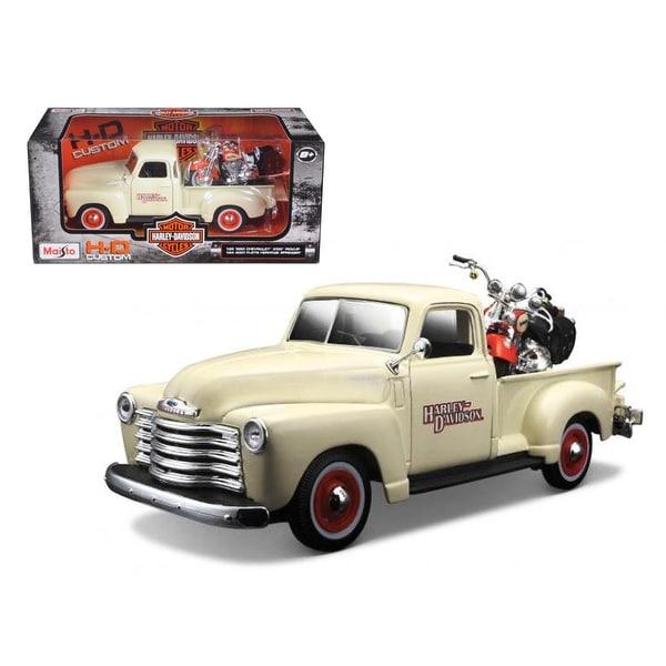 1950 Chevrolet 3100 Pickup Truck Harley Davidson 1/25 With 2001 FLSTS Heritage Springer Motorcycle 1/24 Diecast Model by Maisto