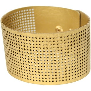 "Cross Stitch Style Faux Leather Bracelet Punched-8""X1.5"" Gold"