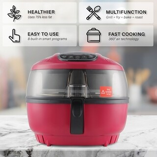 DELLA Air Fryer 10 Quart 1200 WATT Rotisserie Griller Roaster Oil Less Home Kitchen Red
