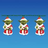 Set of 10 Star Wars Santa Yoda Novelty Christmas Lights - Green Wire