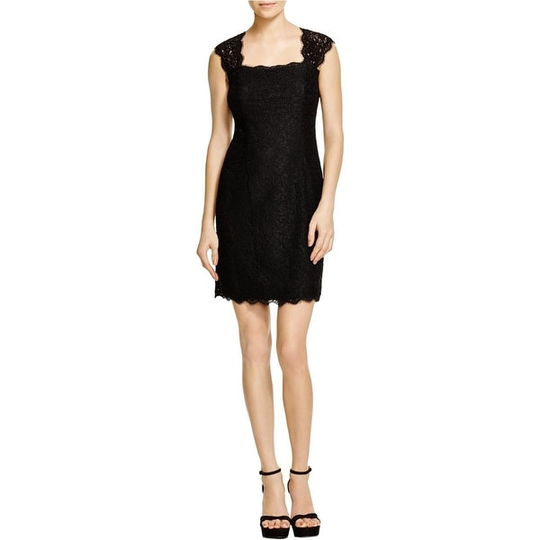 Adrianna Papell Womens Cocktail Dress Lace Cap Sleeves