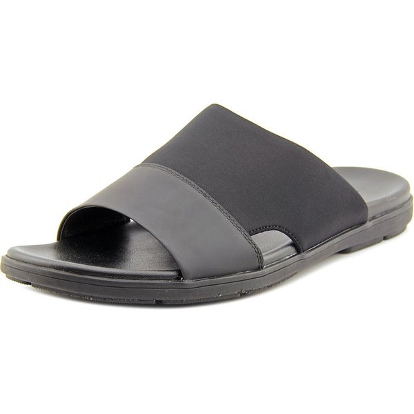 Kenneth Cole NY De-Lite Men Open Toe Leather Black Slides Sandal