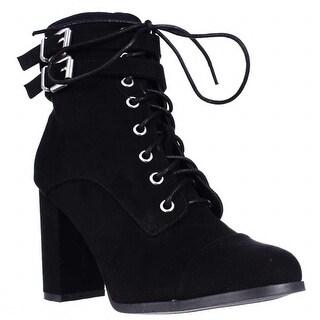 madden girl Klaim Lace Up Combat Ankle Boots, Black