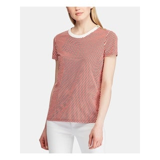 Link to RALPH LAUREN Womens Red Striped Short Sleeve Crew Neck Top  Size M Similar Items in Women's Sweaters