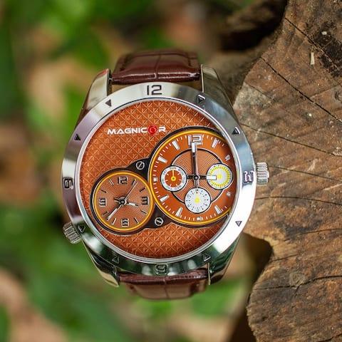 Magnicor Watch Company Quartz Movement Grey Color 40 Mm Dial Genuine Brown, Blue, Black Leather Strap Wrist Watch