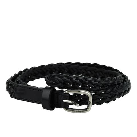 Gucci Women's Silver Buckle Black Braided Leather Skinny Belt 389000 1000