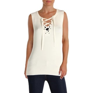 1.State Womens Tank Top Sweater Lace Up Sleeveless Ivory S