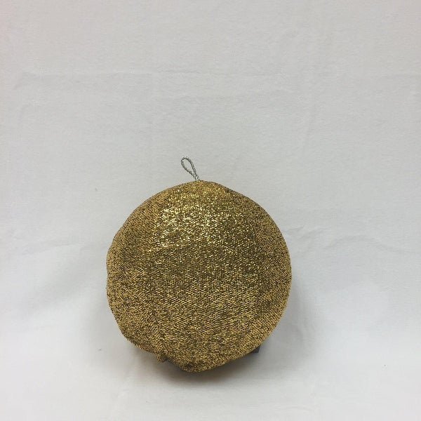 """8"""" Sparkly Gold Inflatable Tinsel Ball Commercial Christmas Ornament"""
