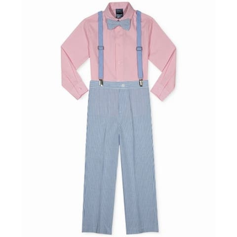 Nautica Boy's Outfits Pink Size 5 3-Piece Button-Front Seersucker