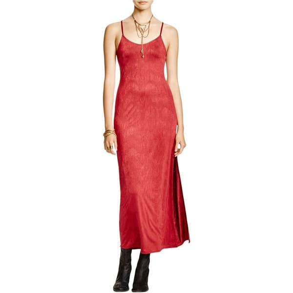 Free People Womens She Moves Maxi Dress Spaghetti Straps Side Slit