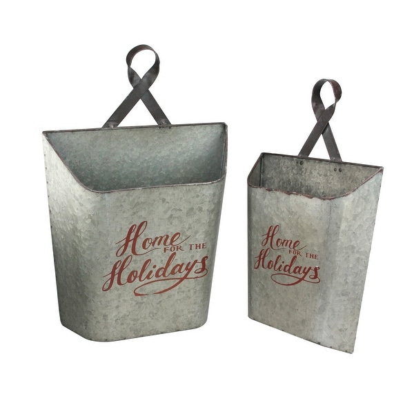 "Set of 2 Metallic Gray and Red Decorative Wall Bucket hanging 18.5"" - N/A"